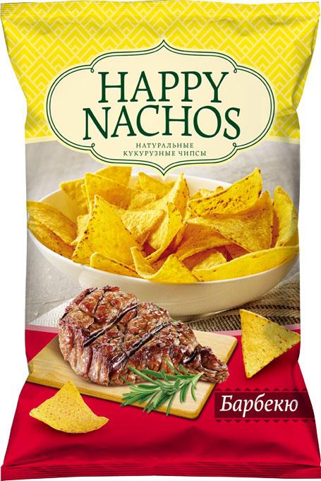 Happy Nachos Чипсы кукурузные со вкусом барбекю, 75 г чипсы кукурузные delicados nachos оригинальные 75 г