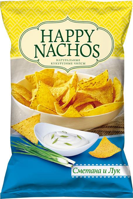 Happy Nachos Чипсы кукурузные со вкусом сметаны и лука, 75 г чипсы кукурузные delicados nachos оригинальные 75 г