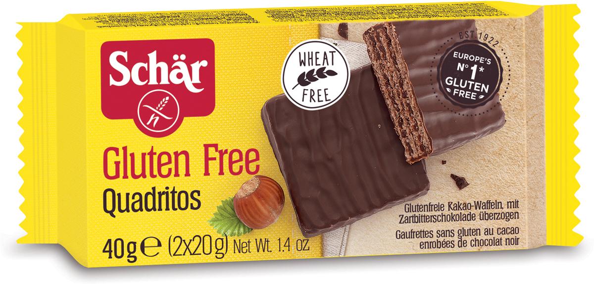 Dr. Schar Quadritos Вафельный батончик в шоколаде, 2 шт по 20 г8008698005293Лакомство, перед которым невозможно устоять. Quadritos – это шоколадный хрустящий перекус. Порадуйте себя Quadritos от компании Schar! Эти вафли с какао, покрытые лучший горьким шоколадом, не просто вкусны, они – самое настоящее воплощение сладкого искушения. Попробуйте на вкус максимальное наслаждение в мини формате.