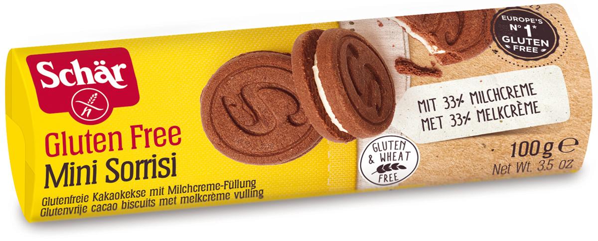 Dr. Schar Minisorrisi Печенье-сэндвич шоколадное с молочной начинкой, 100 г dr oetker пикантфикс для грибов 100 г