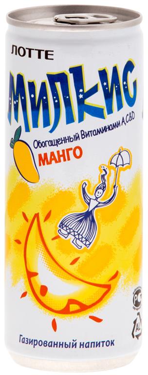 цена на Lotte Milkis напиток газированный безалкогольный со вкусом Манго, 250 мл