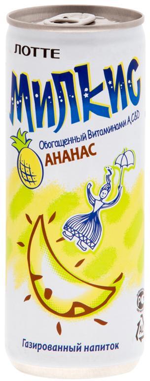 цена на Lotte Milkis напиток газированный безалкогольный со вкусом Ананаса, 250 мл
