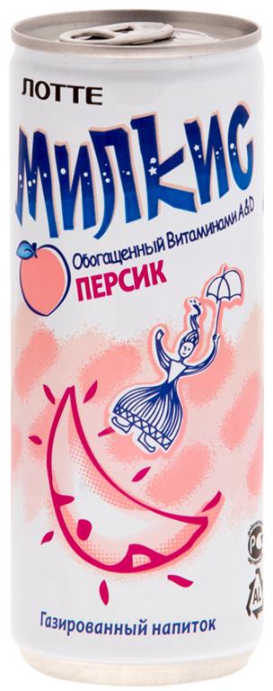 Lotte Milkis напиток газированный безалкогольный со вкусом Персика, 250 мл цена