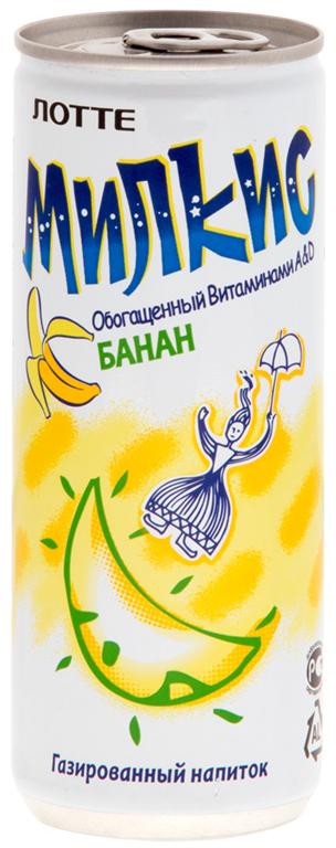 Lotte Milkis напиток газированный безалкогольный со вкусом Банана, 250 мл цена