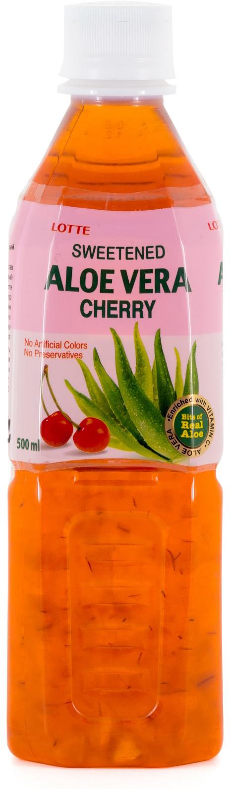 Lotte Aloe Vera напиток безалкогольный негазированный с мякотью алоэ со вкусом Вишни, 500 мл