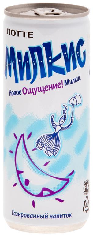 Lotte Milkis напиток газированный безалкогольный Оригинал, 250 мл lotte aloe vera напиток безалкогольный негазированный с мякотью алоэ оригинальный 500 мл