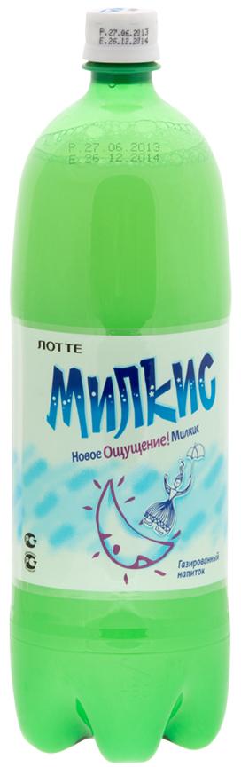 Lotte Milkis напиток газированный безалкогольный Оригинал, 1,5 л lotte aloe vera напиток безалкогольный негазированный с мякотью алоэ оригинальный 500 мл