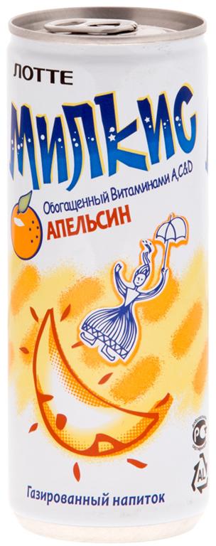 Lotte Milkis напиток газированный безалкогольный со вкусом Апельсина, 250 мл цена