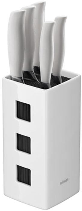 Набор ножей Blanca, на подставке, цвет: стальной, белый, черный, 6 предметов нож поварской nadoba blanca длина лезвия 13 см