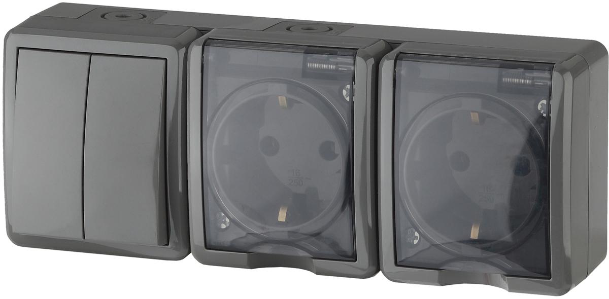 Блок розеточно-клавишный ЭРА Эксперт, с двойным выключателем, 2 разетки, цвет: серый. 11-7404-03 блок розеточно клавишный эра эксперт цвет серый 11 7401 03