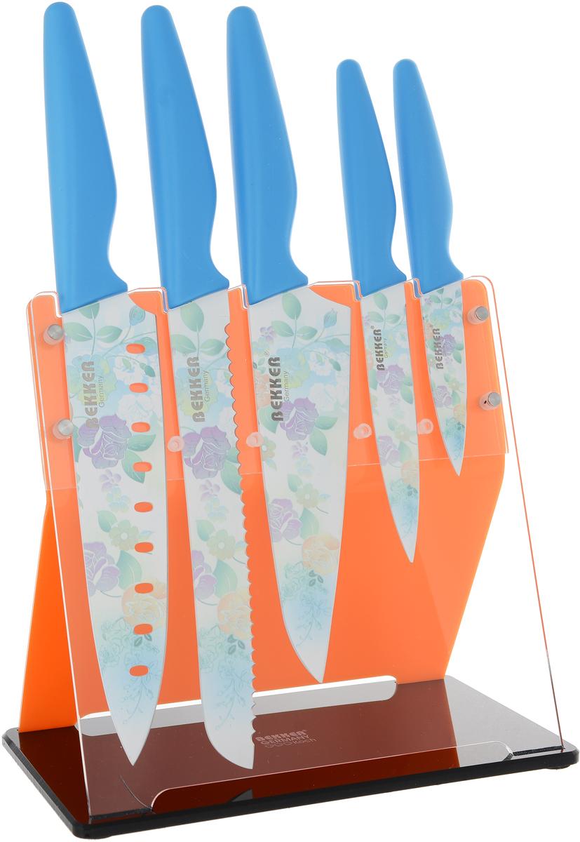 Набор ножей Bekker, 6 предметов, цвет: голубой. BK-8446 набор ножей bekker 6 предметов цвет голубой bk 8446