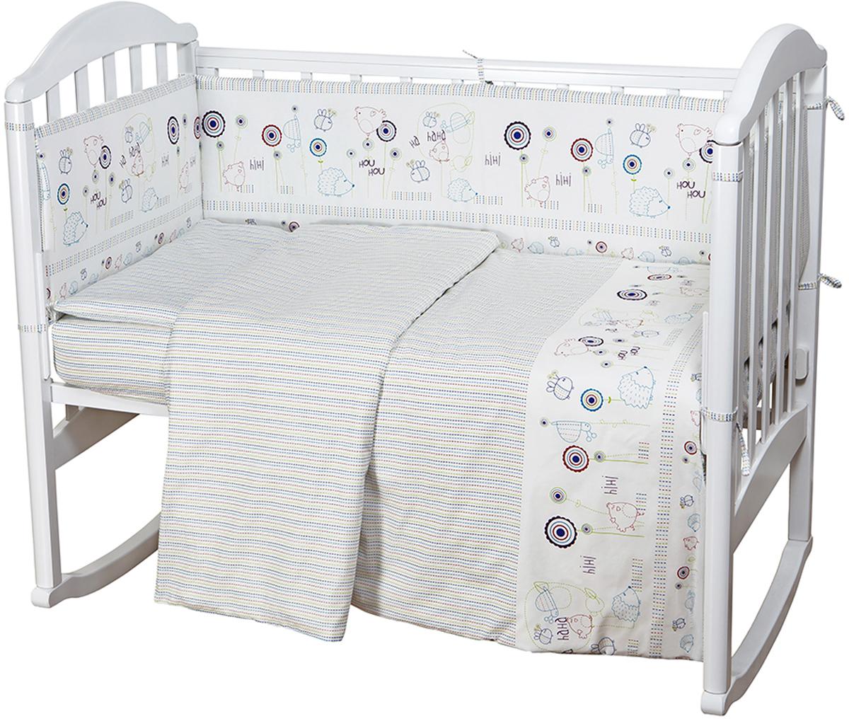 цена Baby Nice Комплект постельного белья детский Ежик цвет белый C611 онлайн в 2017 году