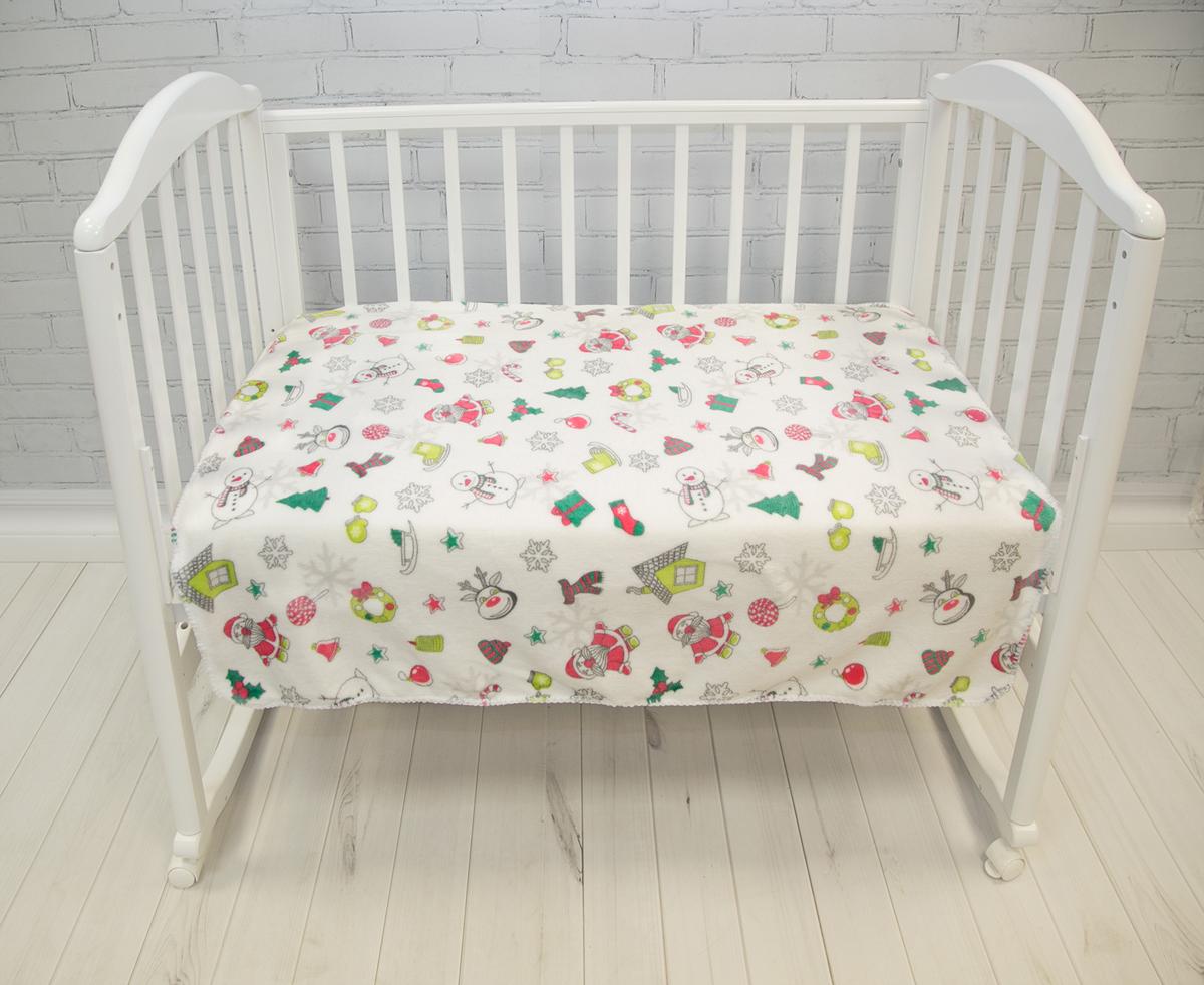 Baby Nice Плед-покрывало детский Micro Flannel Снеговики цвет белый 100 x 118 см