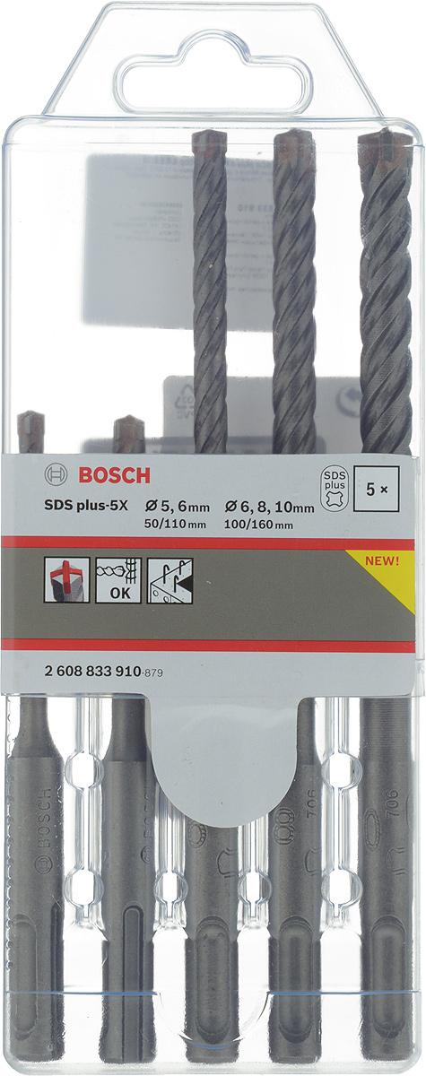 Фото - Набор буров Bosch SDS plus-5X, 5 шт, диаметр 5-10 мм набор буров sds plus bosch 5 5 10 0мм 5шт х5l robust line 2 607 019 933