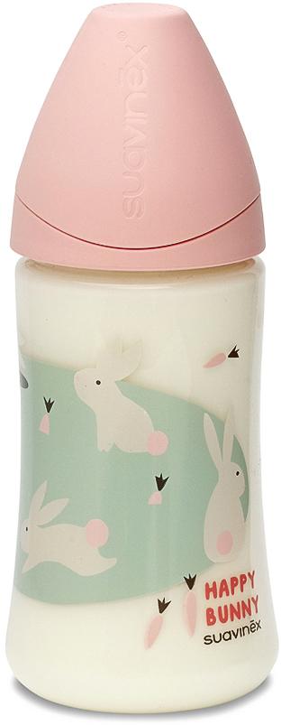 Бутылка Suavinex 270мл от 0 до 6 мес. с анатом.латексной соской, роз.кролик цена