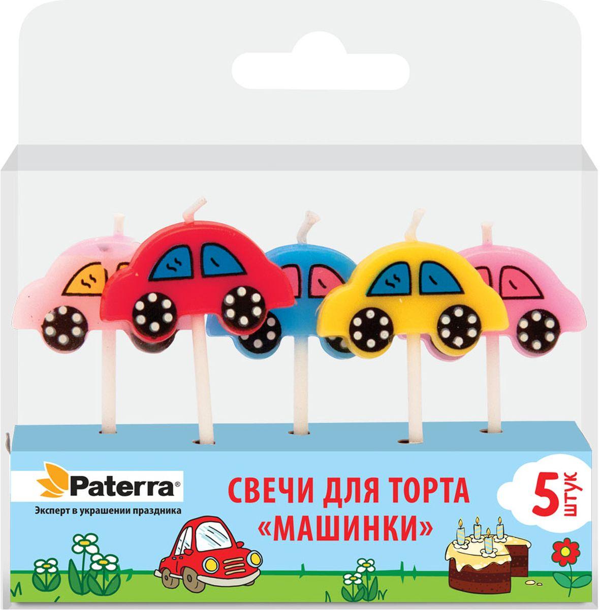 """Свечи для торта Paterra """"Машинки"""", высота 5,7 см, 5 шт"""