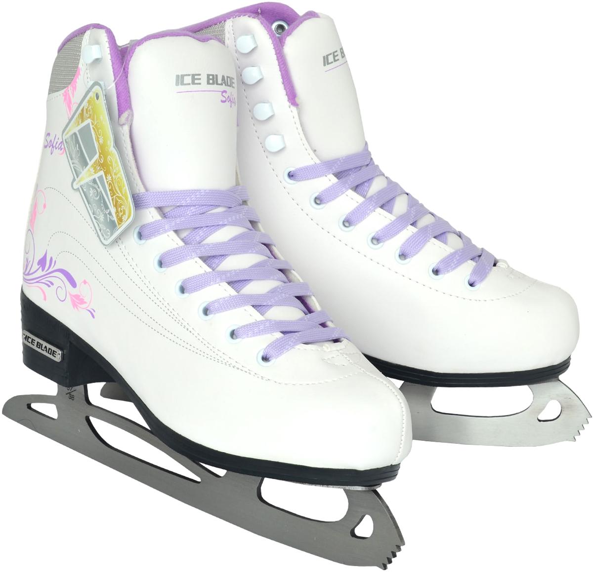 """Коньки фигурные женские Ice Blade """"Sofia"""", цвет: белый, сиреневый. Размер 35"""