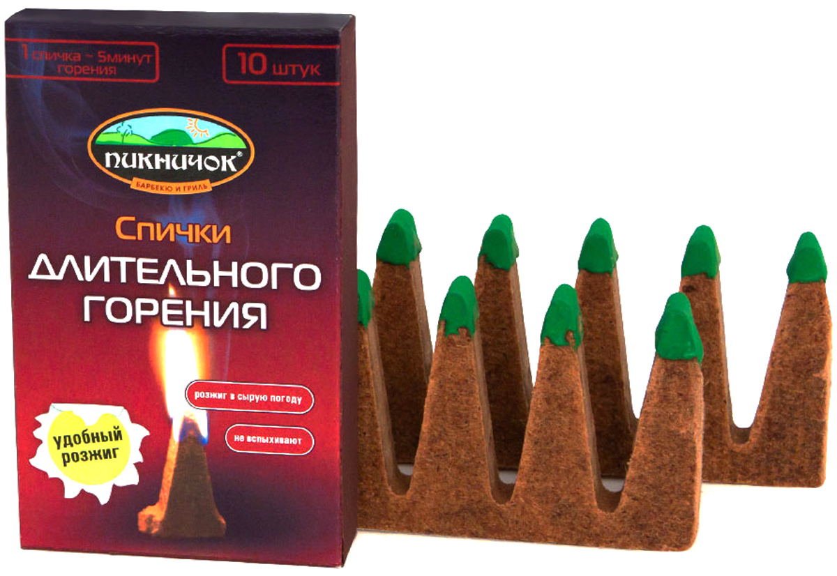 Фото - Спички Пикничок, длительного горения, 10 шт брикеты для розжига пикничок выгодный с зажиг головкой