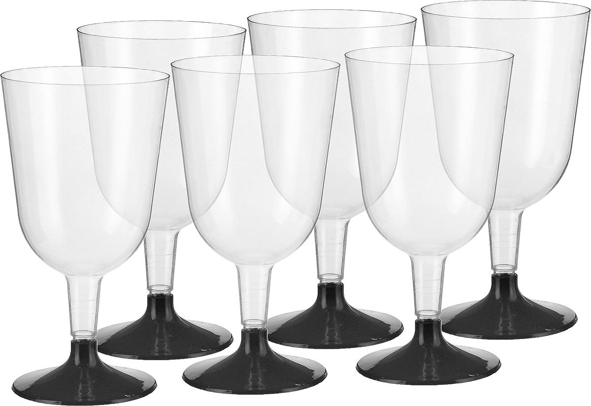 Набор бокалов для вина Buffet, цвет: прозрачный, черный, 200 мл, 6 шт набор одноразовых стаканов buffet biсolor цвет оранжевый желтый 200 мл 6 шт