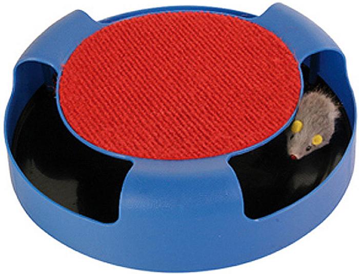Игрушка Trixie Мышка в ловушке, диаметр 25 см, цвет: синий игрушка trixie с мячиком и мышкой цвет салатовый синий диаметр 24 см