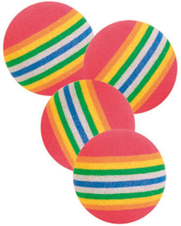 """Набор игрушек для кошек Trixie """"Радужные мячи"""", диаметр 3,5 см, 4 шт"""