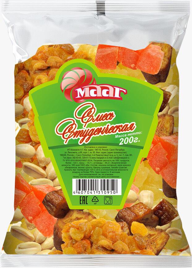 МААГ фруктово-ореховая смесь Студенческая, 200 г
