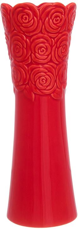 Ваза Elan Gallery Красная с розами, цвет: красный, высота 22 см, 0,43 л ваза elan gallery птицы в цветах цвет белый высота 30 см 2 6 л page 3 page href