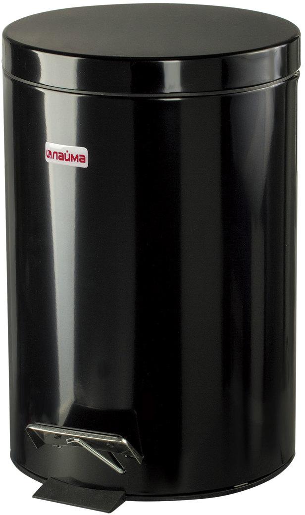 """Ведро-контейнер для мусора """"Лайма"""", с педалью, цвет: черный, 12 л. 602850"""
