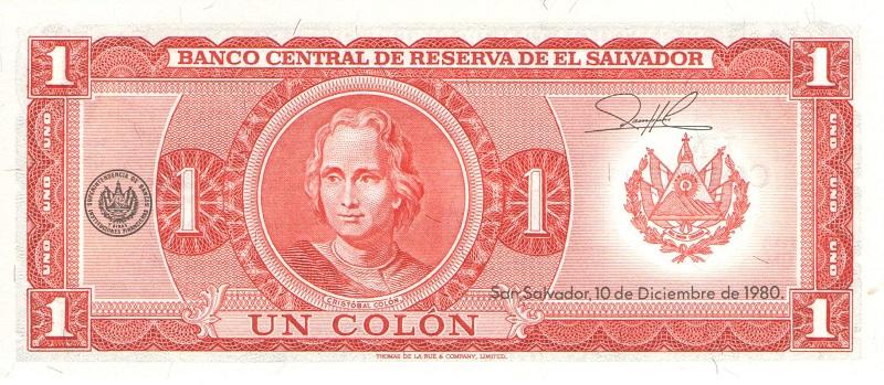 Банкнота номиналом 1 колон. Сальвадор. 1980 год