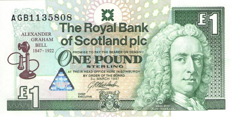 Банкнота номиналом 1 фунт. Шотландия. 1997 год
