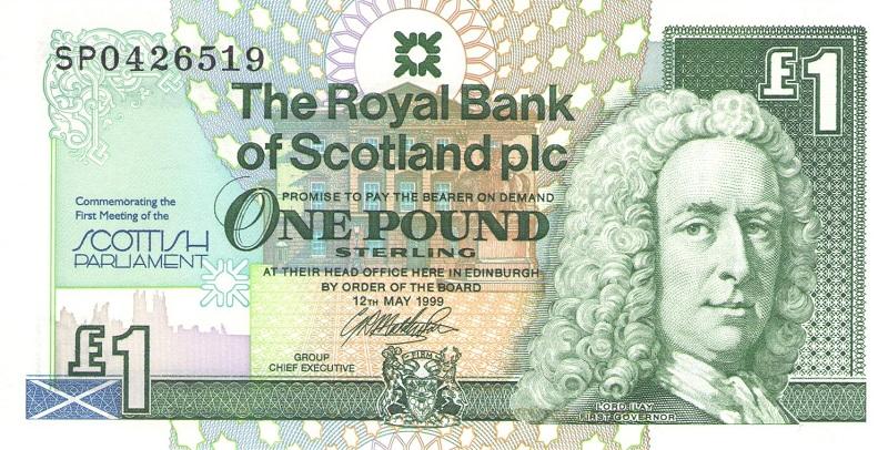 Банкнота номиналом 1 фунт. Шотландия. 1999 год 72 дня первого русского парламента