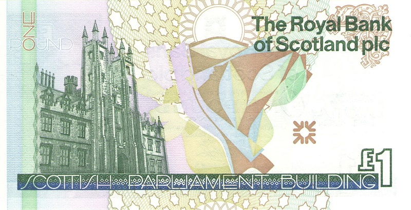 Банкнота номиналом 1 фунт. Шотландия. 1999 год