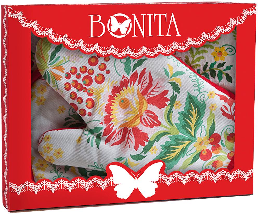 рукавицы прихватки фартуки романтика прихватка рукавичка лимонный сад Подарочный набор для кухни Bonita Калинка, 3 предмета