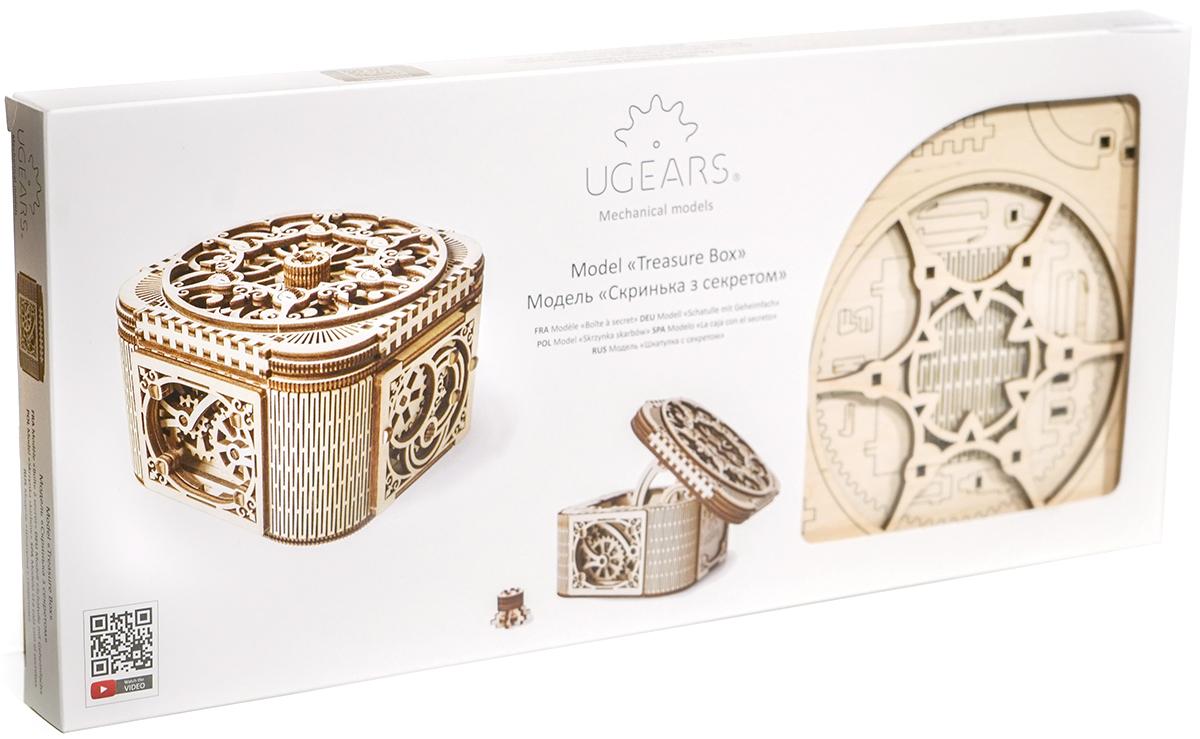 Ugears Конструктор 3D пазл Шкатулка с секретом70031Новинка 2017 года Конструктор 3D пазл Шкатулка с секретом, это предмет гордости бренда UGEARS. Ювелирная работа от инженеров UGEARS, позволила создать уникальный конструктор, который не только украсит ваш интерьер, но и сохранит ваши сокровища и секреты в безопасности. Чтобы открыть шкатулку, вам понадобится ключ, который встроен в ажурную крышку. Поверните механизм ключа по часовой стрелке и достаньте ключ. Чтобы открыть крышку шкатулки, поверните против часовой стрелки ключ. Механизм разблокируется, шестерни придут в движение и крышка откроется, раскрыв вам ларец с вашими секретами и украшениями. Рекомендуем!
