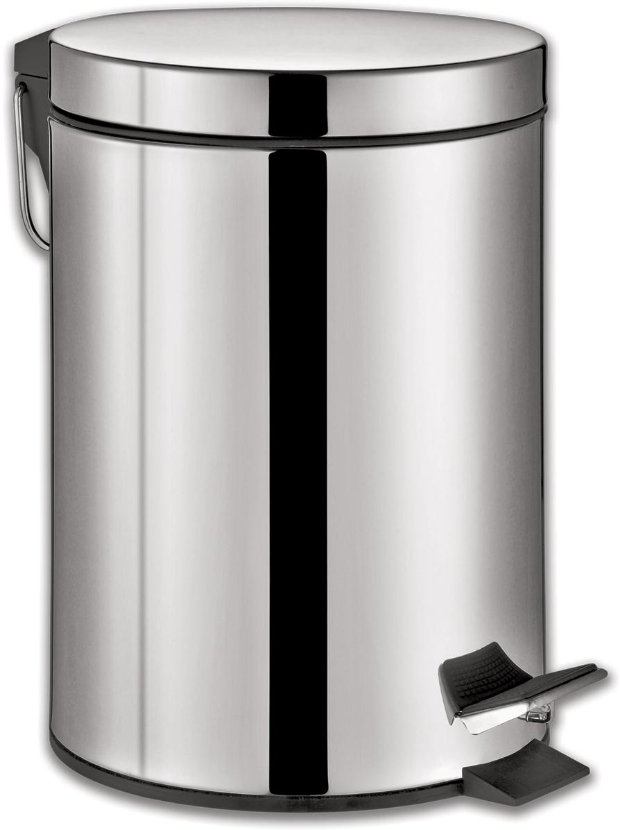 """Ведро-контейнер для мусора Лайма """"Classic"""", с педалью, цвет: серебристый, 12 л. 232261"""