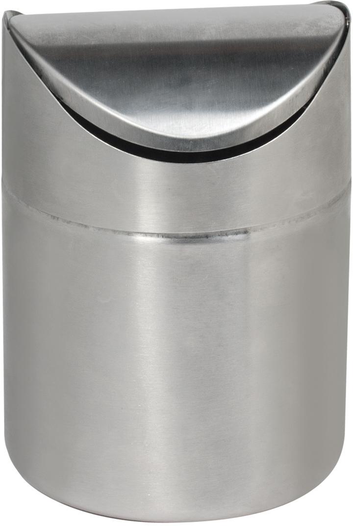 Урна для мусора Лайма, настольная, с крышкой, цвет: серебристый, 1,2 л. 601618 урна для мусора лайма 1 2 л с качающейся крышкой