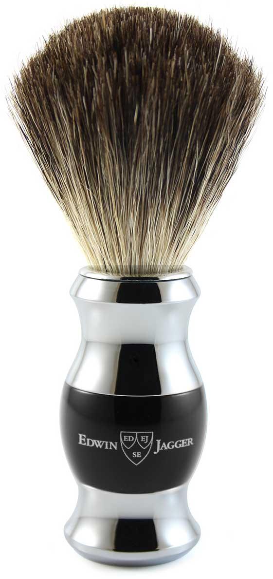 Edwin Jagger Помазок, барсучий ворс, цвет: черная смола. 81SB356CR цена и фото