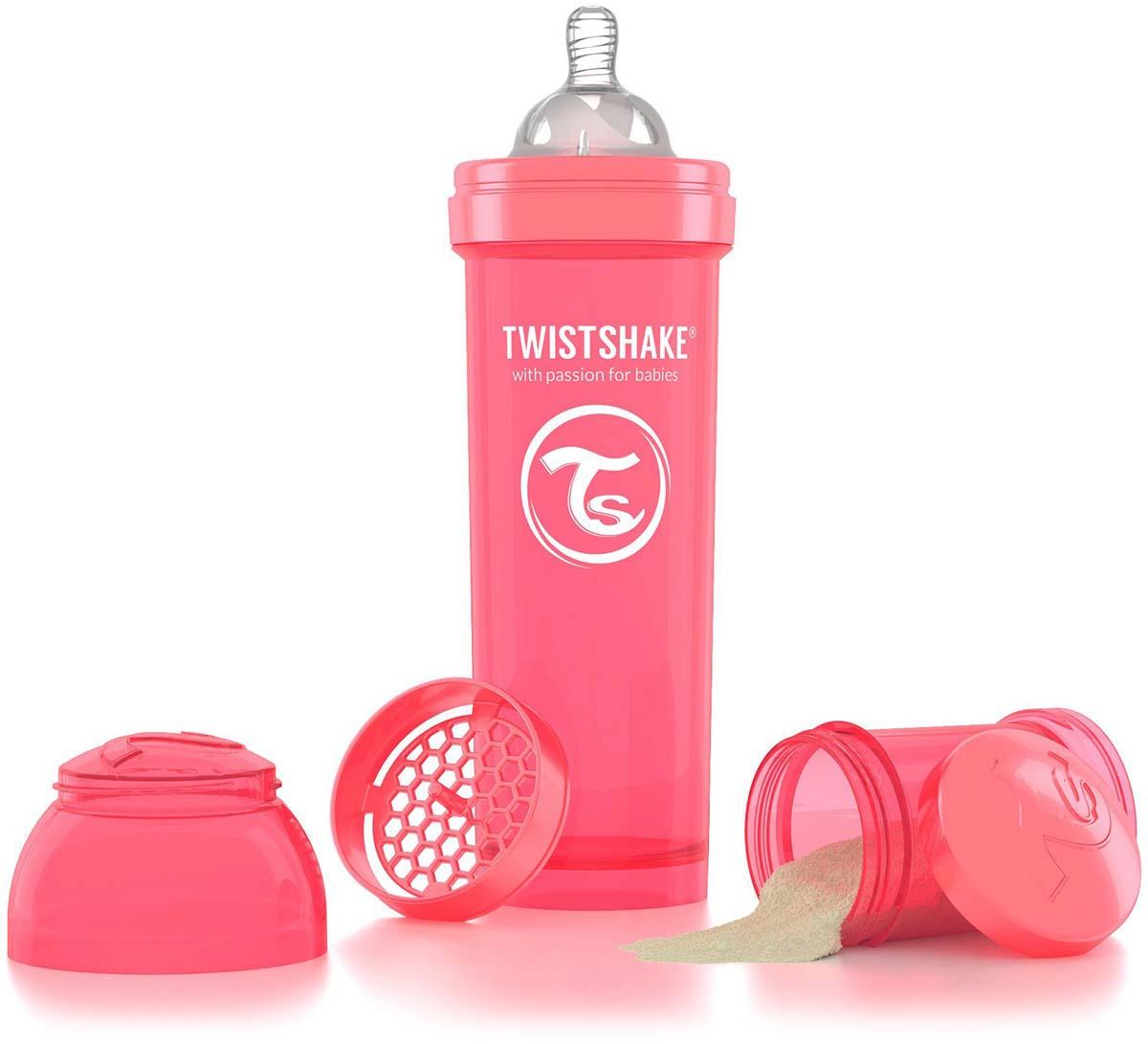 Twistshake Бутылочка антиколиковая с контейнером для сухой смеси и соской Dreamcatcher от 4 месяцев цвет персиковый 330 мл