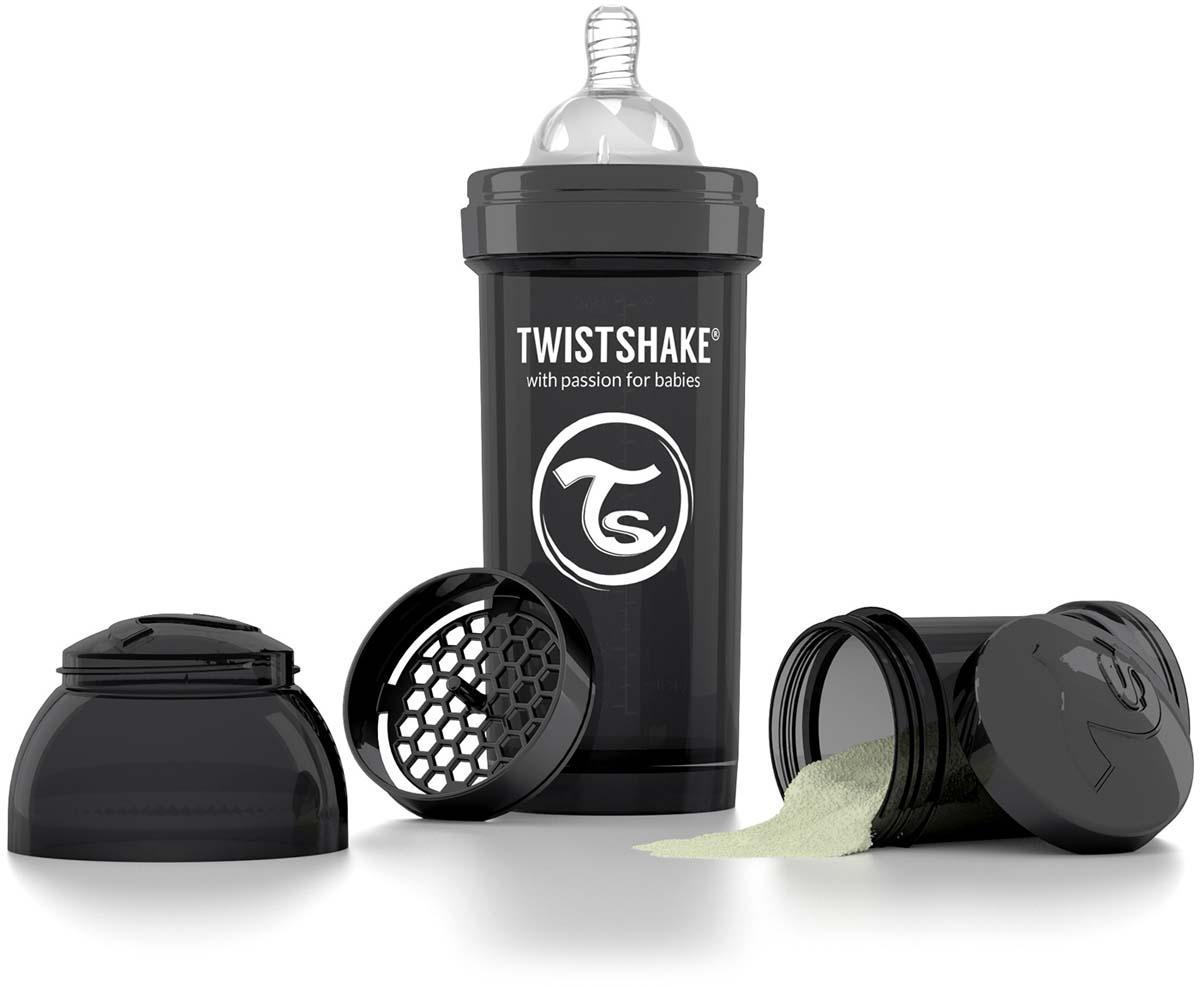 Twistshake Бутылочка антиколиковая с контейнером для сухой смеси и соской Superhero от 2 месяцев цвет черный 260 мл