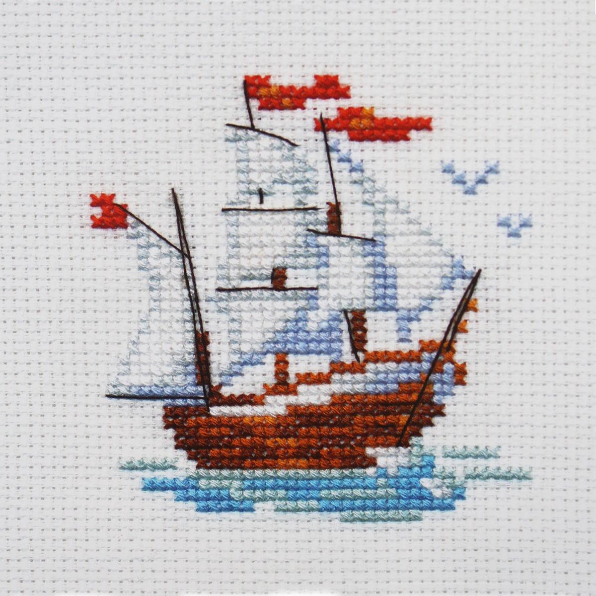 Набор для вышивания крестом Алиса Кораблик, 8 х 7 см цена