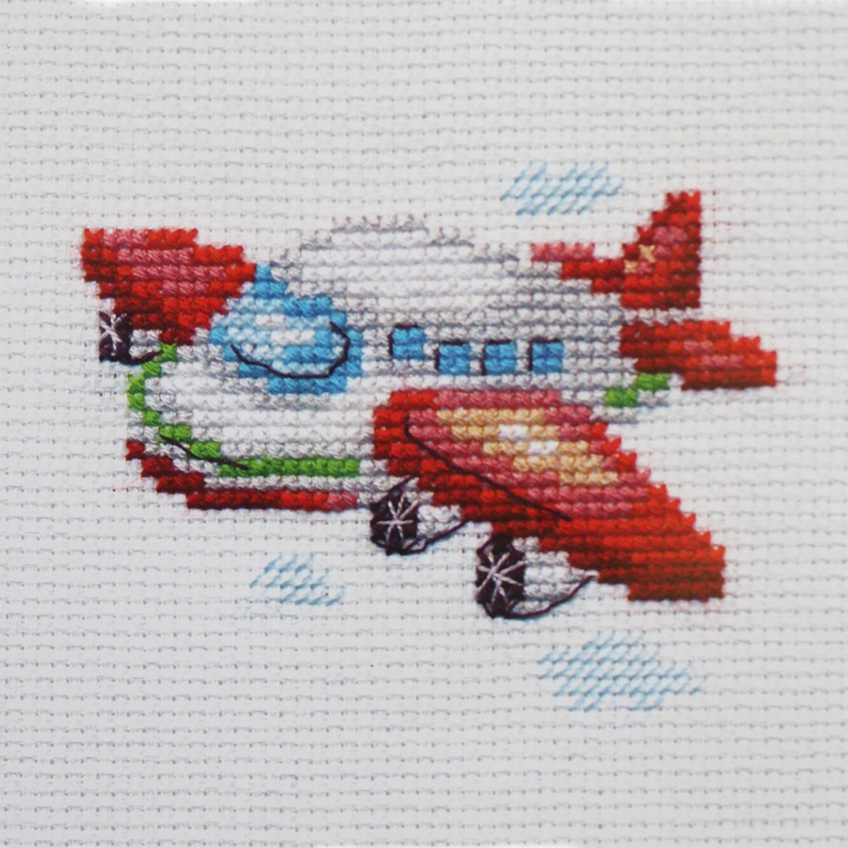 Набор для вышивания крестом Алиса Самолетик, 6 х 8 см цена
