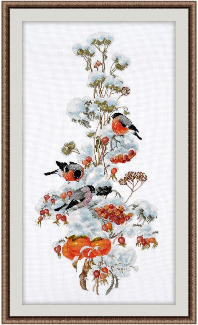 Набор для вышивания крестом Овен Зимняя композиция, 44 х 20 см набор для вышивания крестом овен наш цветочек 23 х 24 см
