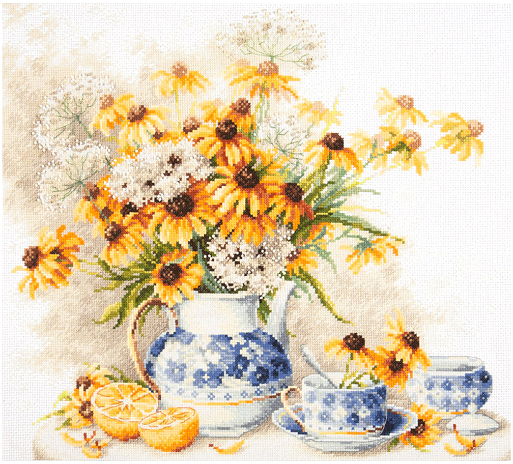 Набор для вышивания крестом Чудесная игла Цветочный чай, 35 х 40 см набор для вышивания крестом чудесная игла у самовара 34 х 40 см