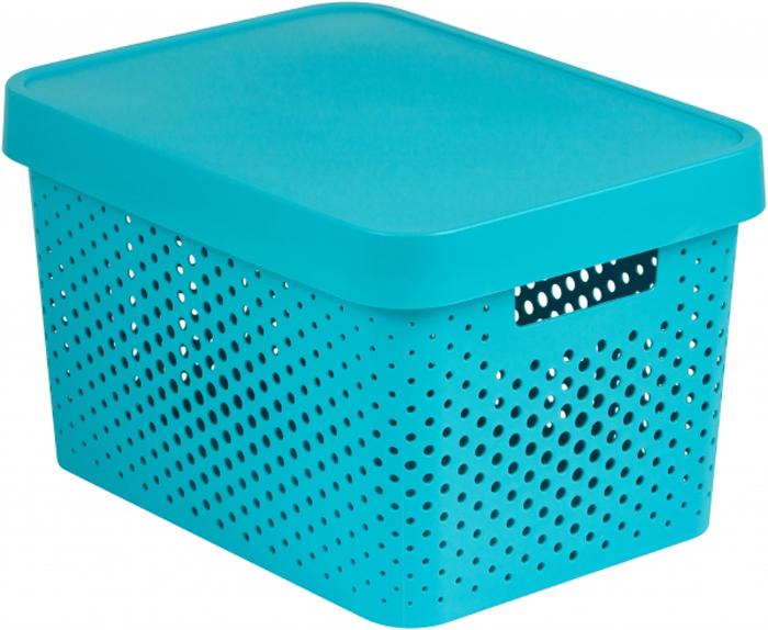 Коробка для хранения Curver Infinity, перфорированная, с крышкой, цвет: лазурный, 17 л цена
