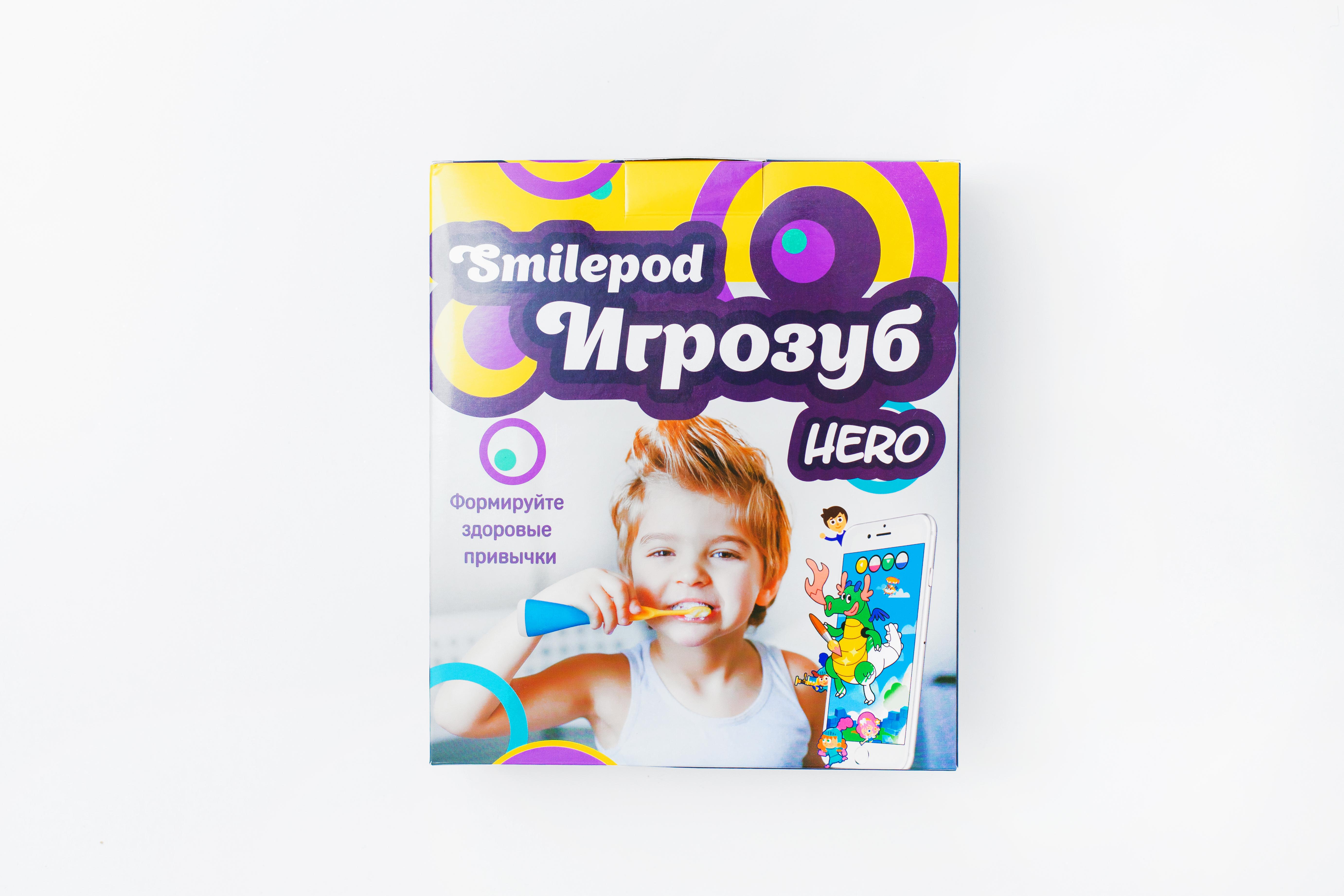 Smilepod Игрозуб Hero, Blue детский обучающий набор для чистки зубов