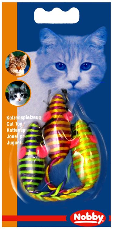 Набор игрушек для животных Nobby Мышка полосатая, 5 см, 3 шт набор игрушек для животных hagen catit