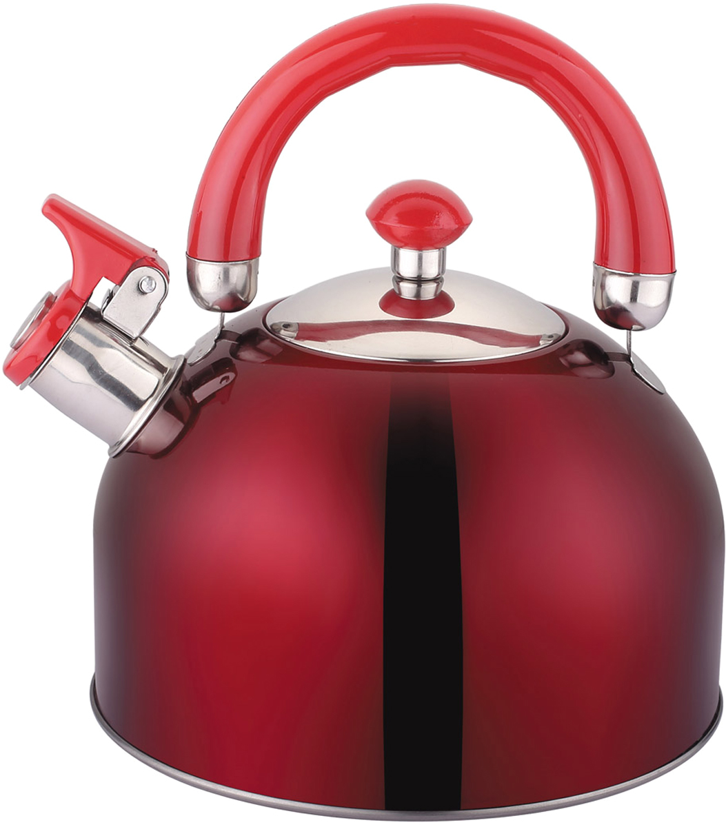 "Чайник ""Appetite"", со свистком, цвет: красный, 2,5 л. LKD-2025B"