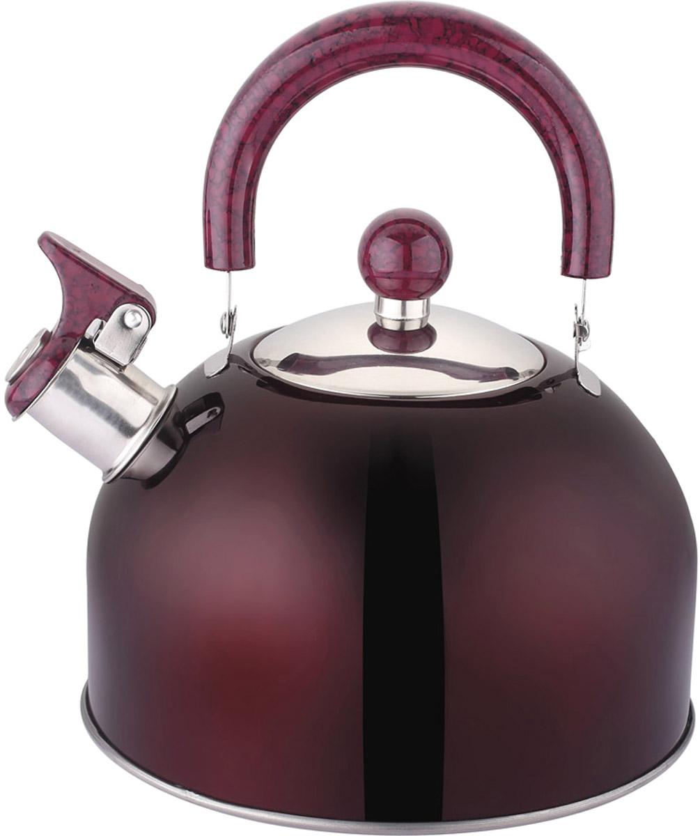 """Чайник """"Appetite"""", со свистком, цвет: бордо, 2,5 л. LKD-2025D"""