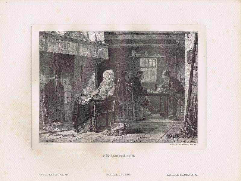 Горе в доме. Ксилография. Германия, Берлин, 1880 год printio германия берлин