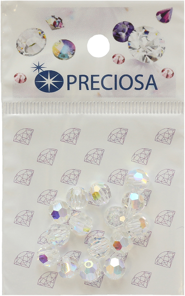 Бусины круглые Preciosa Crystal AB, 6 мм, 15 шт551737Бусины Preciosa Crystal AB позволит вам своими руками создать оригинальные ожерелья, бусы или браслеты, а также заняться вышиванием. Они идеально подойдут для вышивания на предметах быта и женской одежде. Жемчуг чешского производства Preciosa обладает высоким качеством, однороден по форме и размеру, откалиброван.